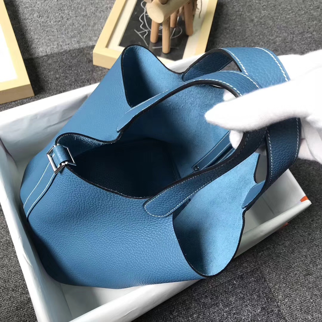 Hermès(爱马仕)牛仔蓝 原厂御用顶级TC 皮 Picotin  Lock 22 cm 银扣 现货