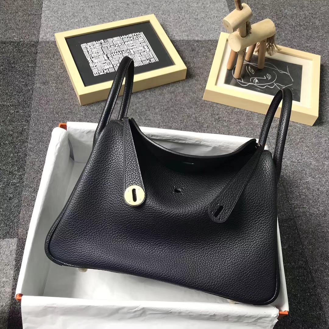 Hermès(爱马仕)CK89 黑色 原厂御用顶级TC 皮 Lindy 30 金扣 现货