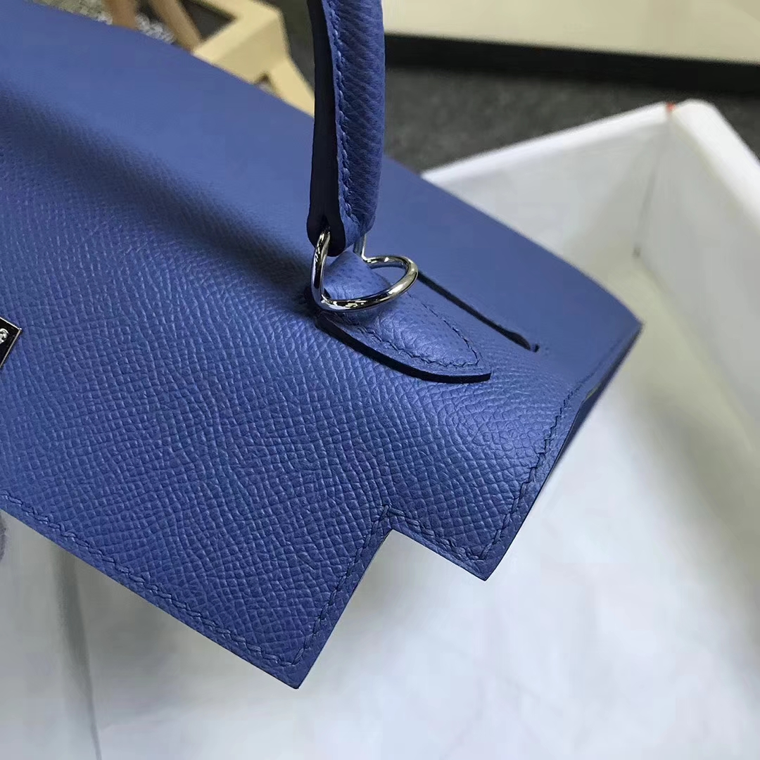Hermès(爱马仕)7E 明蓝色 原厂御用顶级Epsom 皮 Kelly 25 外缝 银扣