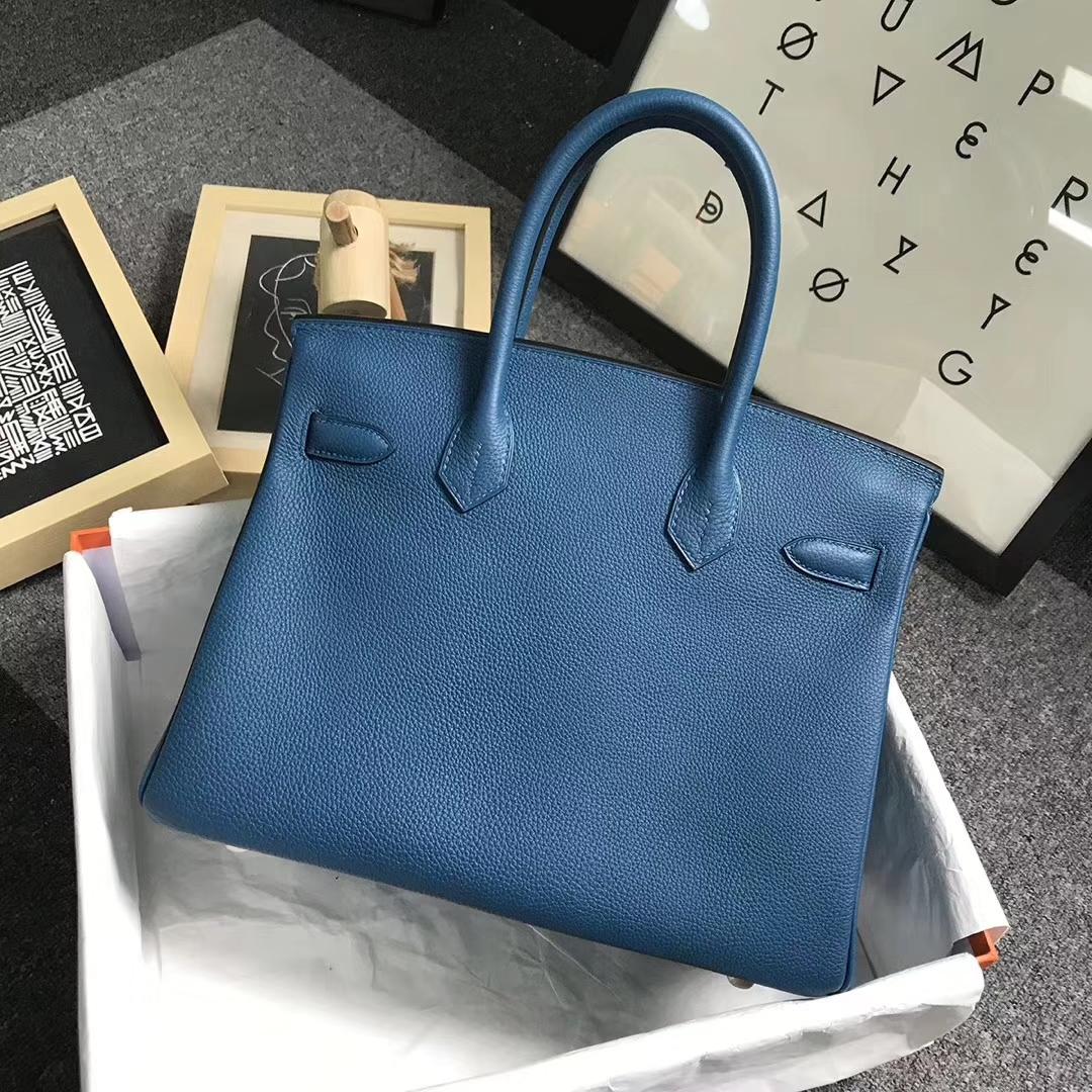 Hermès(爱马仕)7W伊兹密尔蓝 原厂御用顶级小牛皮 Birkin 30 金扣