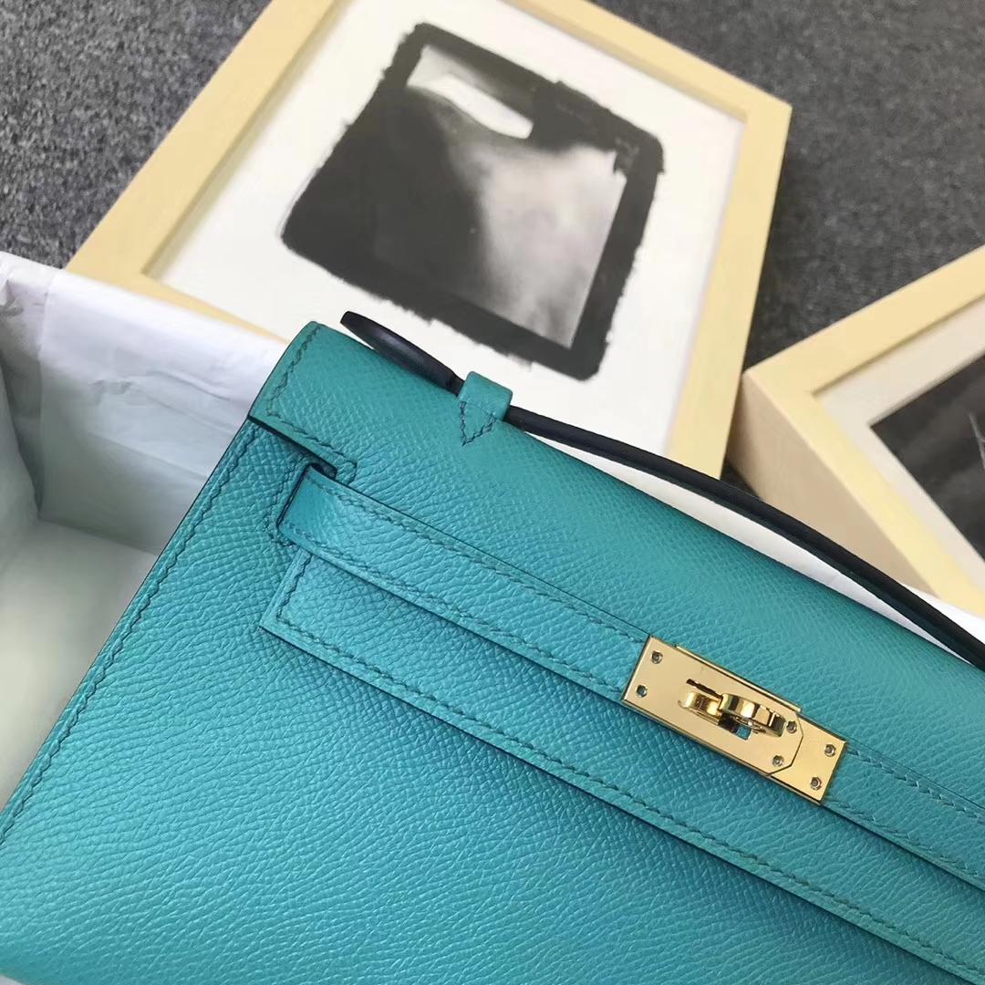 Hermès(爱马仕)7F孔雀蓝 原厂御用顶级Epsom 皮 Mini Kelly 金扣