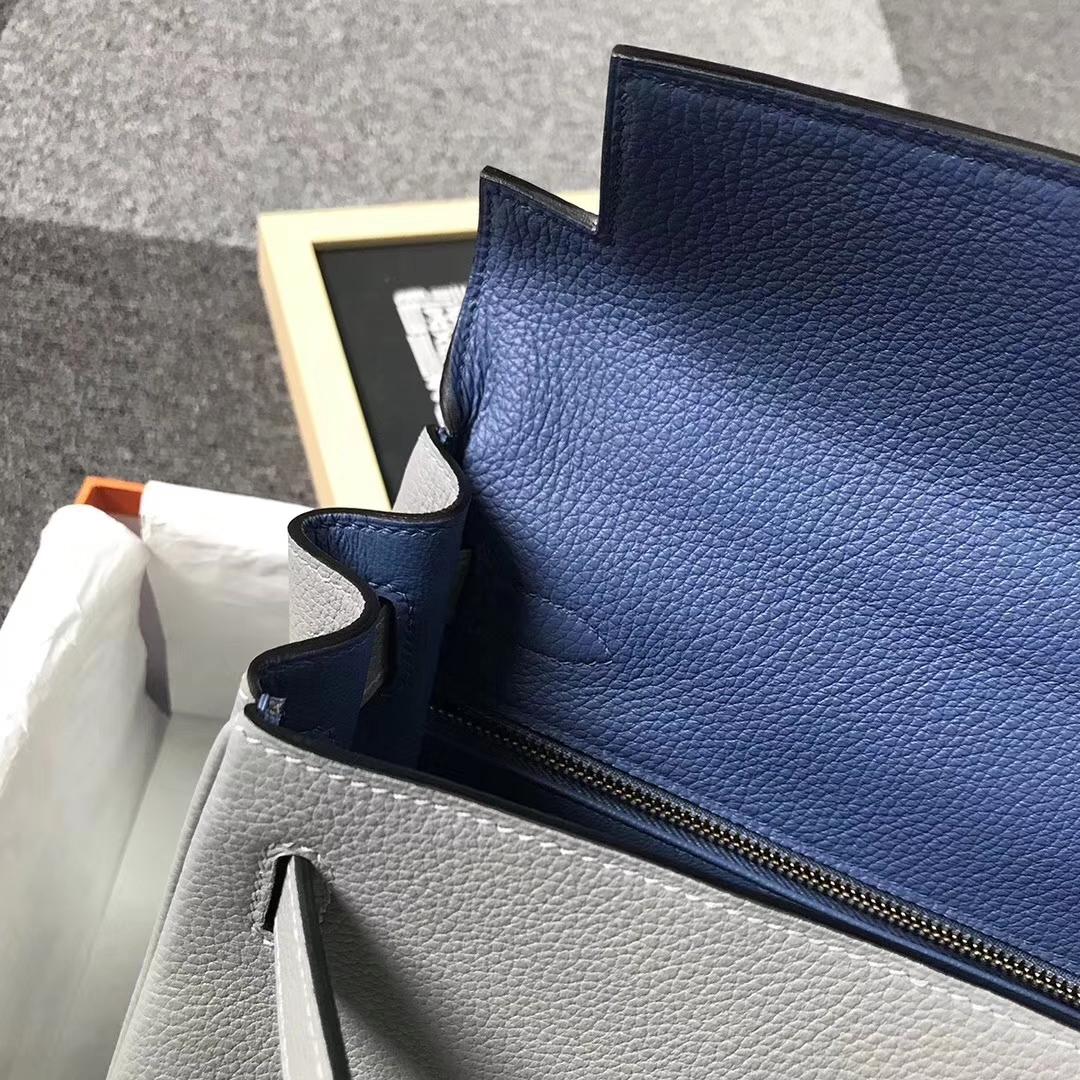 Hermès(爱马仕)4Z海鸥灰内拼玛瑙蓝 原厂御用顶级小牛皮 Kelly 28 金扣