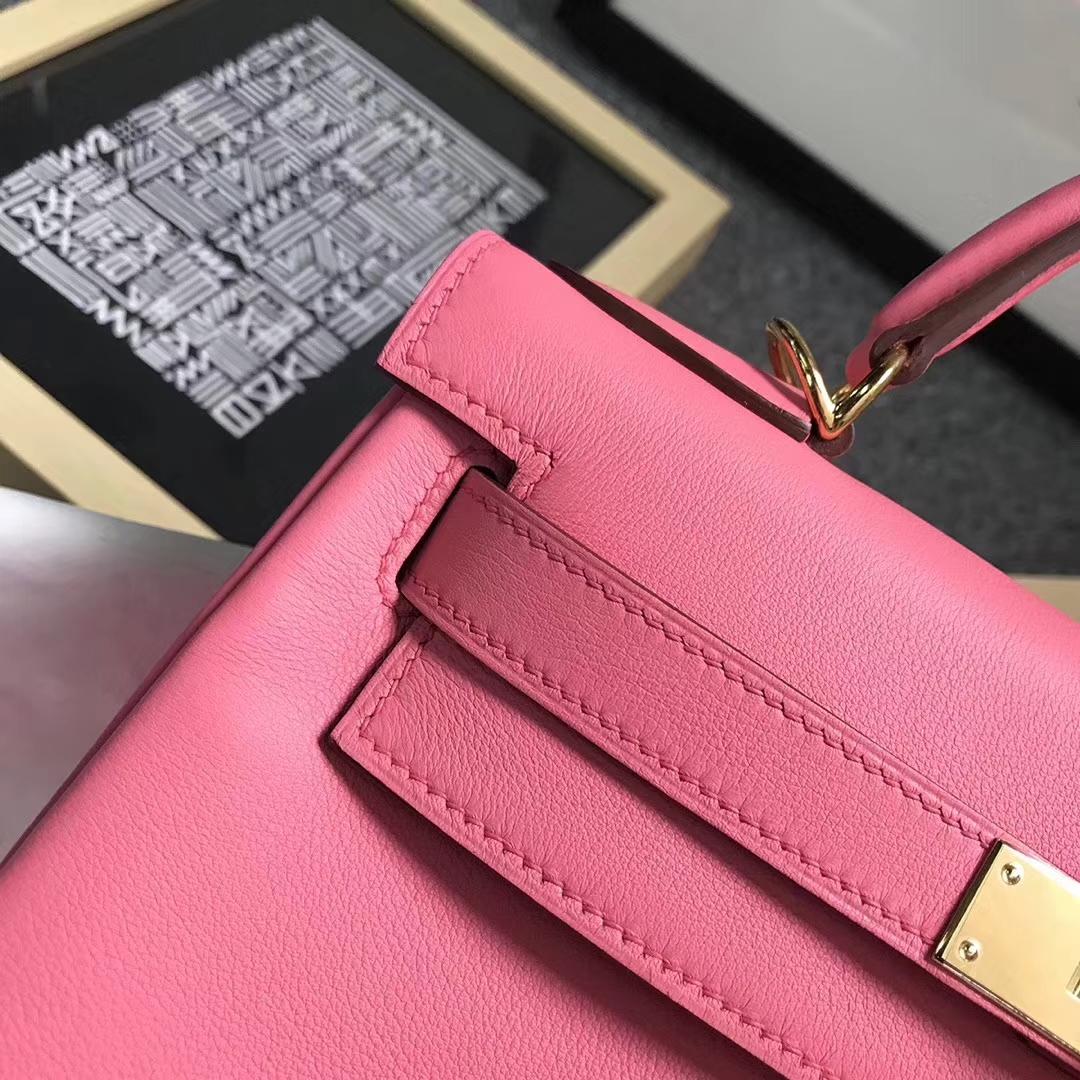 Hermès(爱马仕)8W新唇膏粉 原厂御用顶级Swift 皮 Kelly 28 内缝 金扣