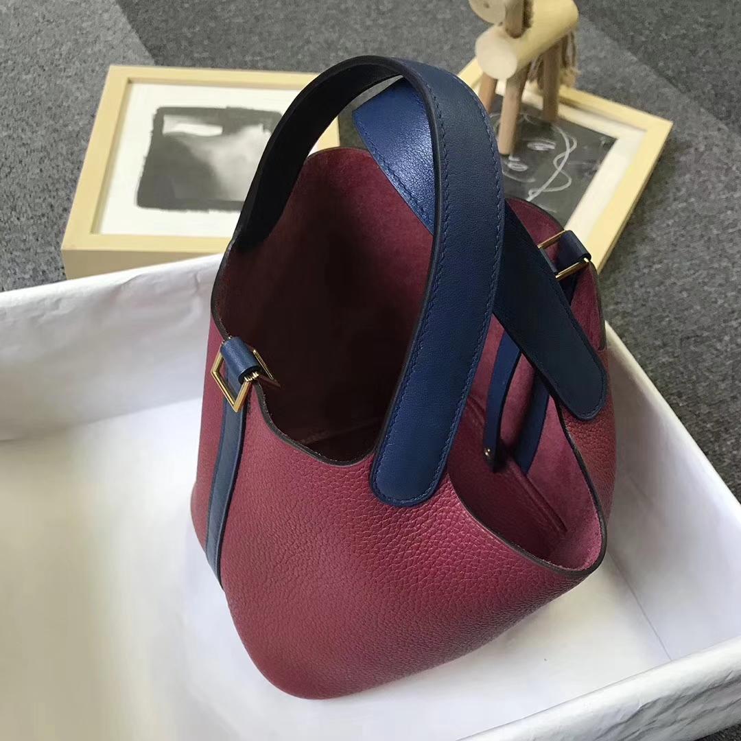 Hermès(爱马仕)石榴红拼宝石蓝 原厂御用顶级TC 皮 Picotin  Lock 18 cm 金扣
