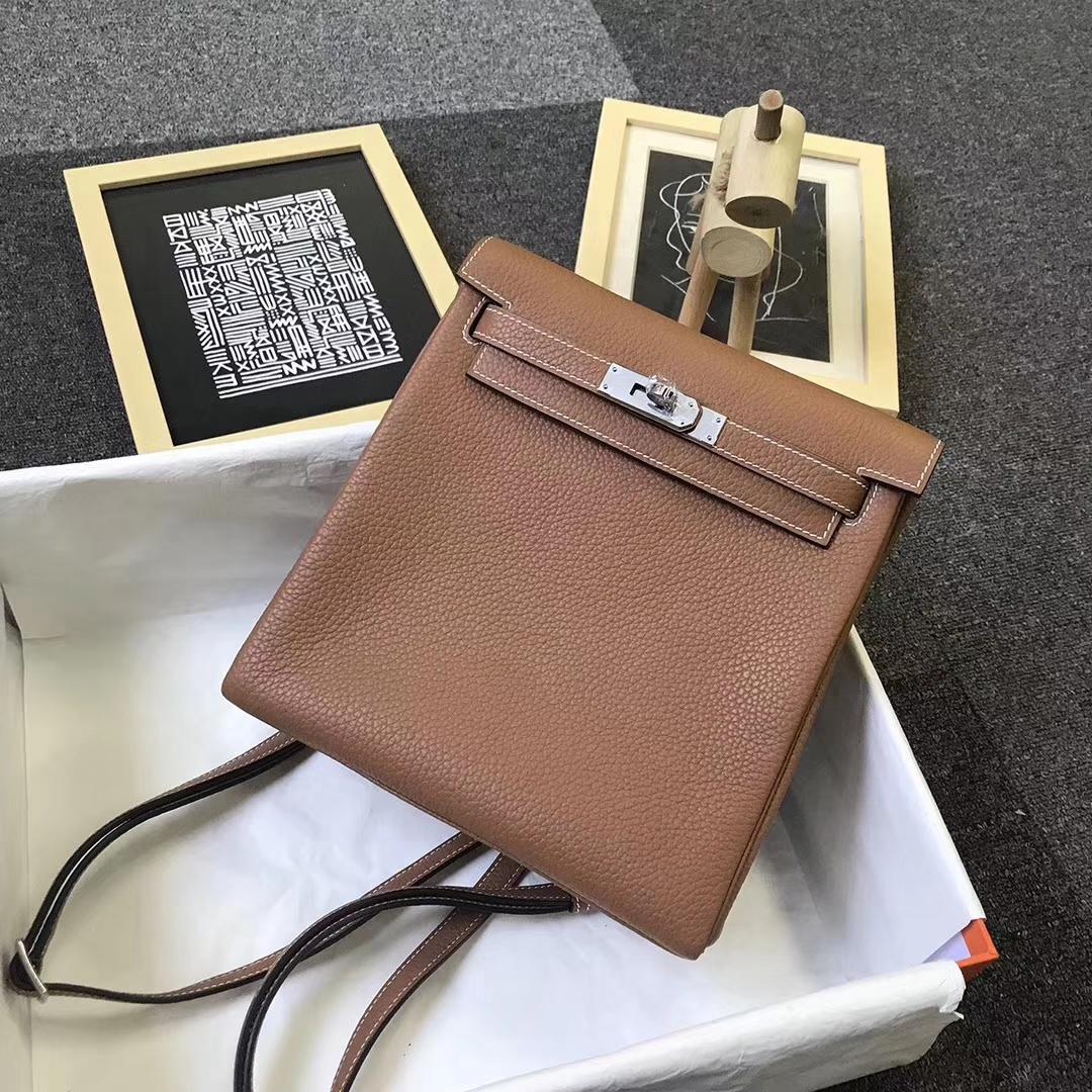 Hermès(爱马仕)金棕色 原厂御用顶级TC 皮 Kelly  ado 20 银扣