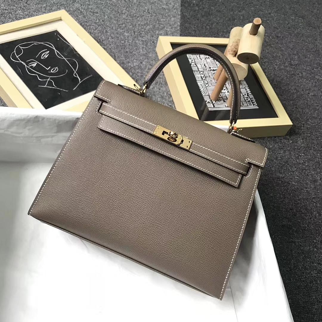 Hermès(爱马仕)CK18 大象灰内5P樱花粉 原厂御用顶级Epsom 皮 Kelly 25 外缝 金扣