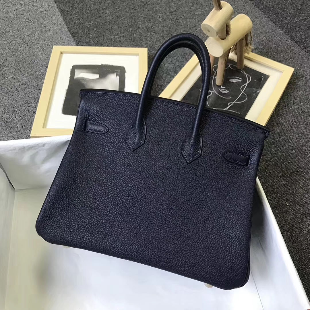 Hermès(爱马仕)午夜蓝 原厂御用顶级小牛皮 Birkin 25 金扣 银扣 现货