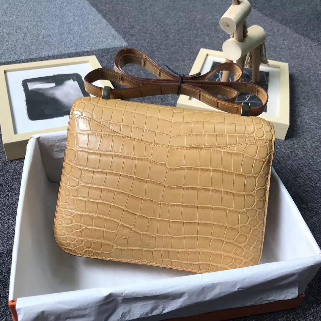 Hermès(爱马仕)姜黄雾面鳄鱼 Constance 24 金扣 现货