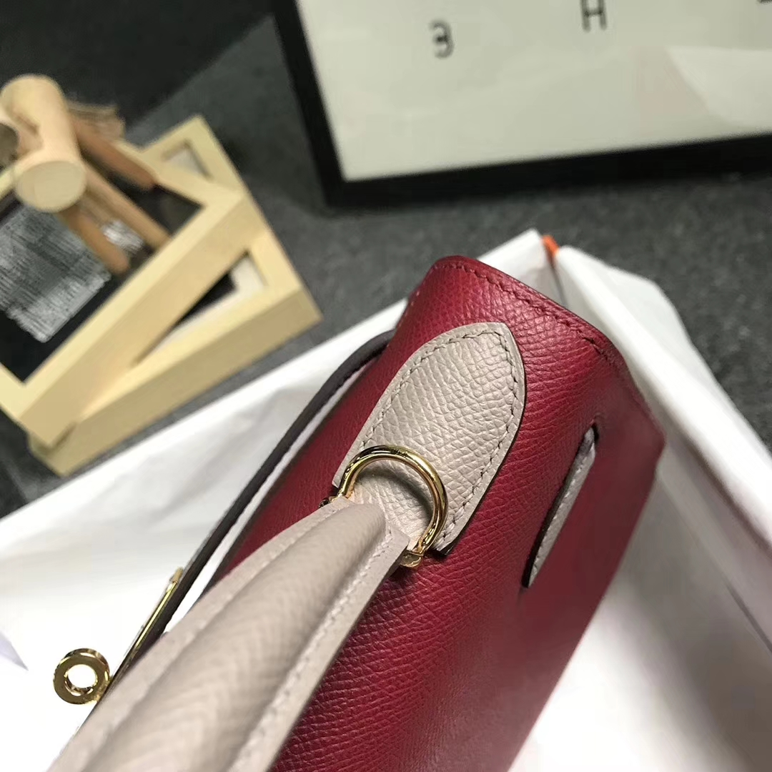 Hermès(爱马仕)K1石榴红拼M8沥青灰 原厂御用顶级Epsom 皮 Kelly 28 外缝 金扣