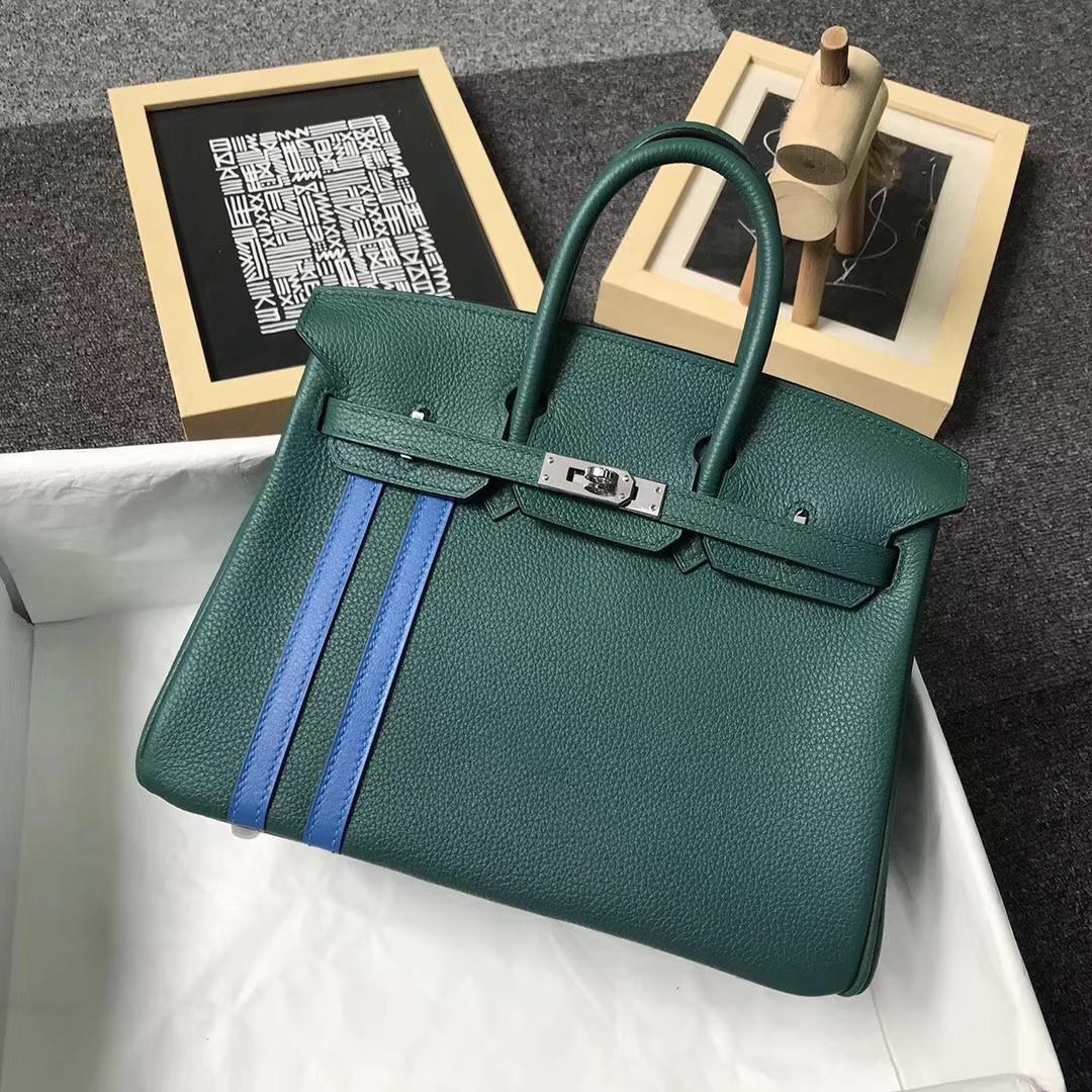 Hermès(爱马仕)Z6 孔雀绿拼琉璃蓝 原厂御用顶级小牛皮 Birkin 25 银扣