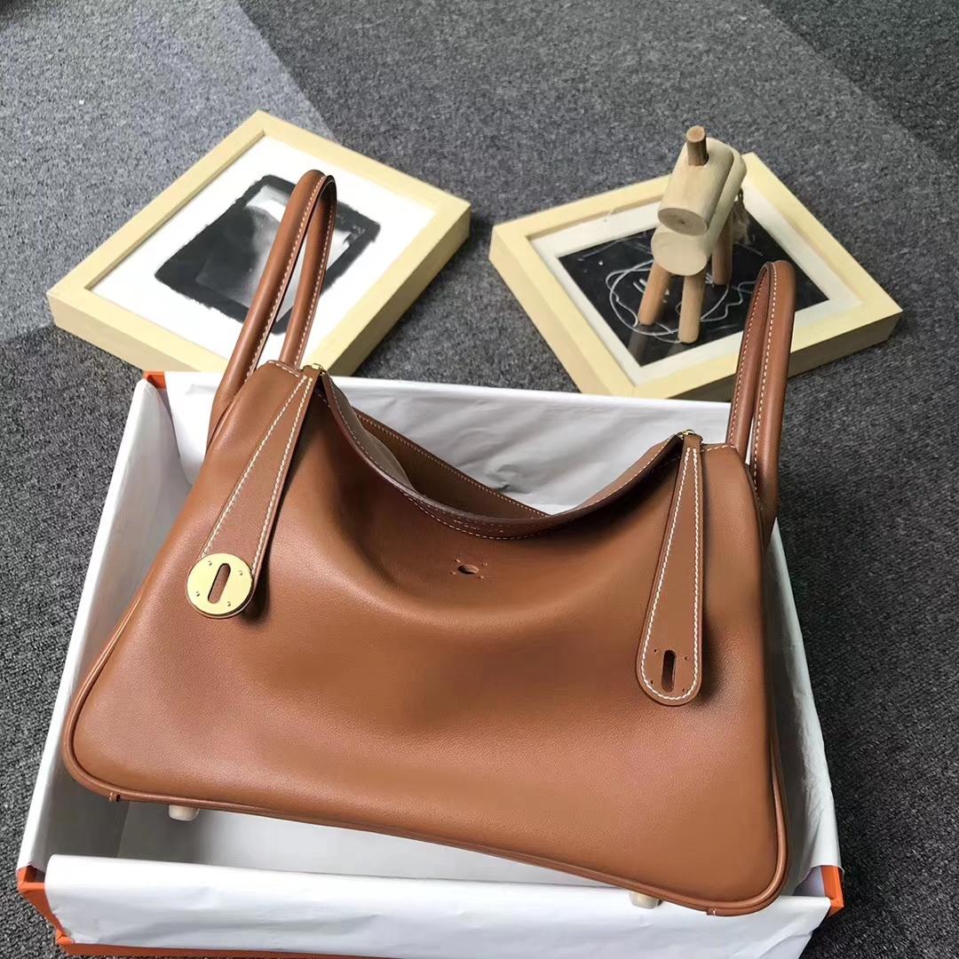 Hermès(爱马仕)金棕色 编织肩带 原厂御用顶级Swift 皮 Lindy 30 金扣