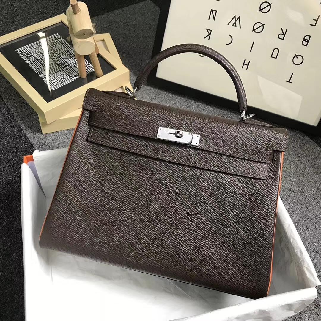 Hermès(爱马仕)巧克力拼经典橙色 原厂御用顶级Epsom 皮 Kelly 32 内缝 银扣