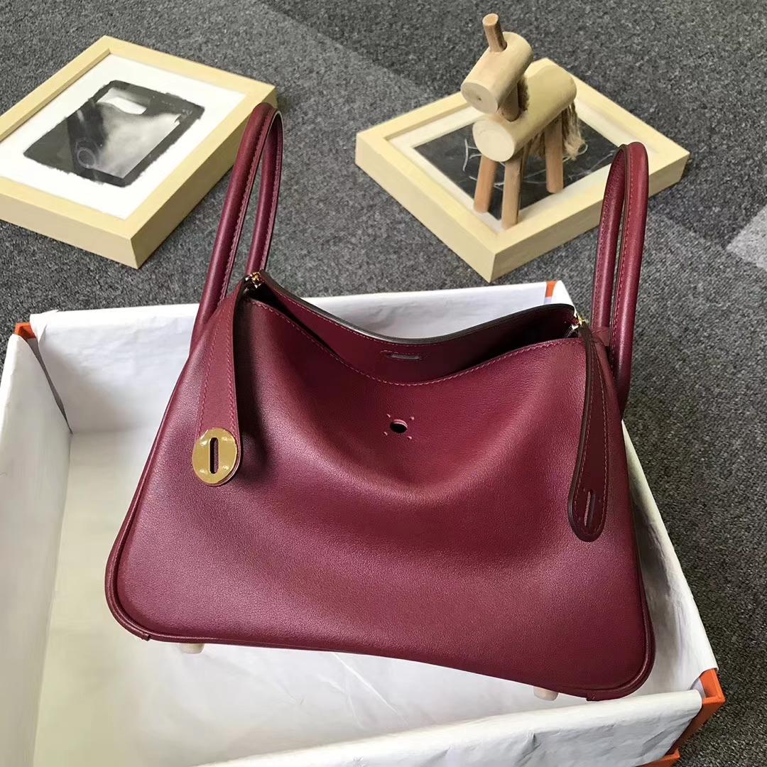 Hermès(爱马仕)B5 宝石红 原厂御用顶级Swift 皮 Lindy 26 金扣