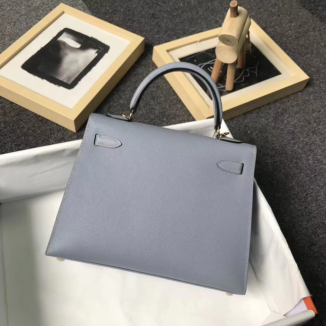 Hermès(爱马仕)J7 亚麻蓝 原厂御用顶级Epsom 皮 Kelly 25 外缝 金扣