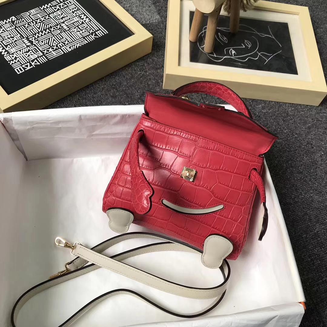 Hermès(爱马仕)S5番茄红鳄鱼皮拼奶昔白Swift 皮 Kelly doll 金扣
