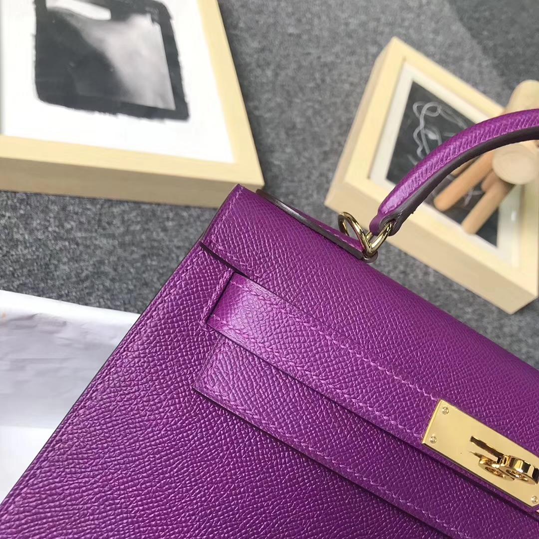 Hermès(爱马仕)P9海葵紫 原厂御用顶级Epsom皮 Kelly 28 外缝 金扣