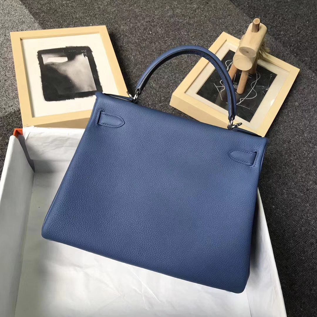 Hermès(爱马仕)R2 玛瑙蓝 原厂御用顶级小牛皮 Kelly 28 银扣