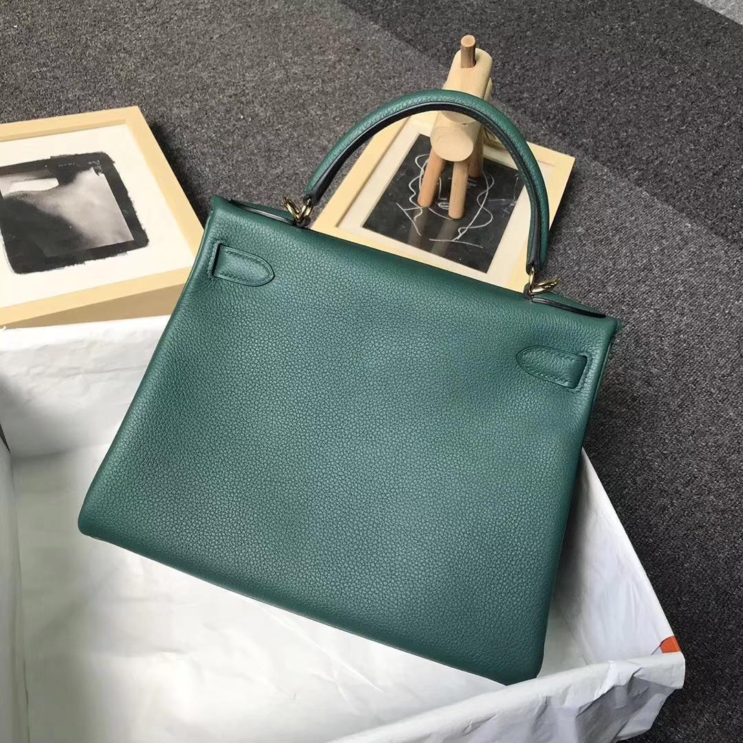 Hermès(爱马仕)Z6 孔雀绿 原厂御用顶级小牛皮 Kelly 28 金扣