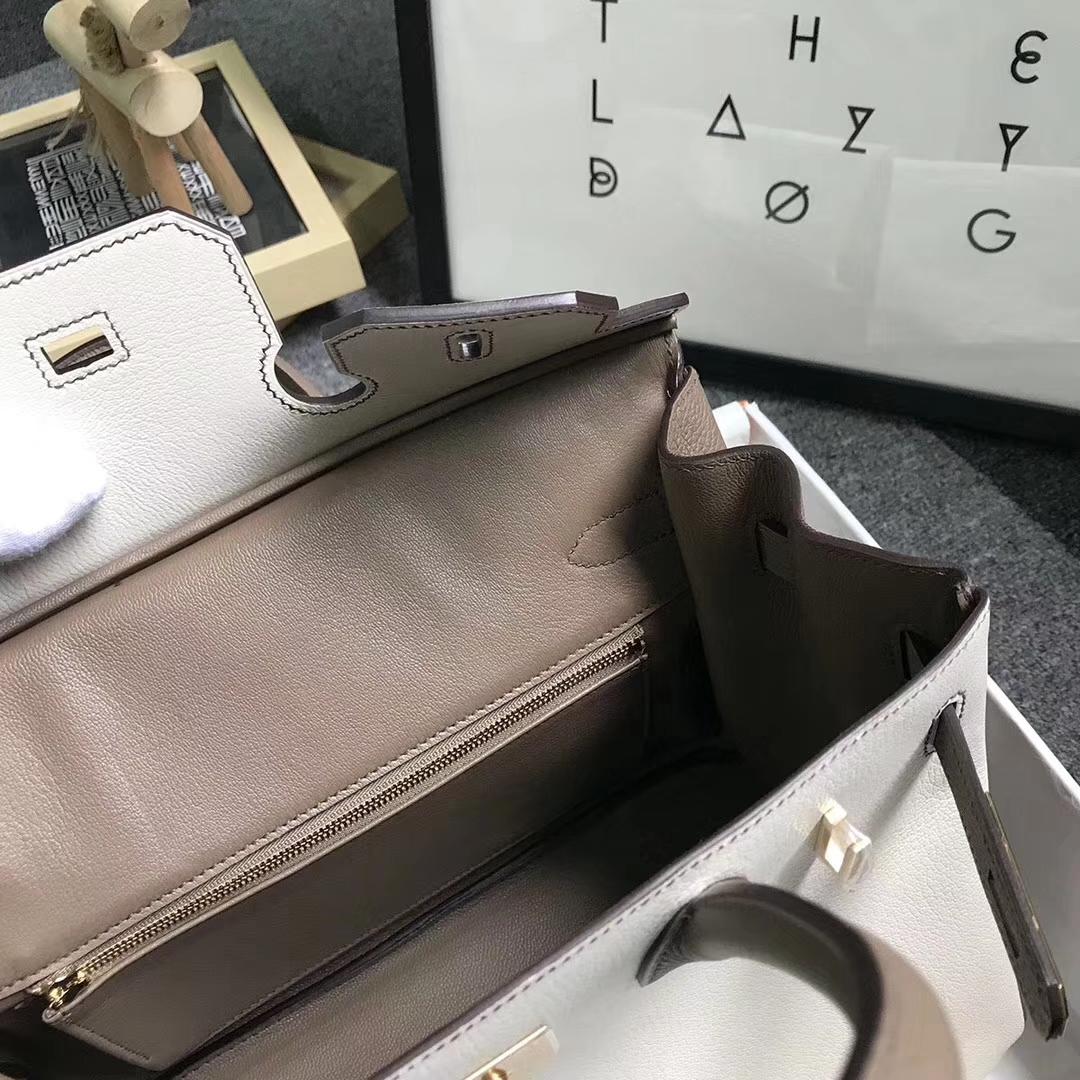 Hermès(爱马仕)奶昔白拼大象灰 原厂御用顶级山羊皮拼小牛皮 Birkin 30 拉丝金扣