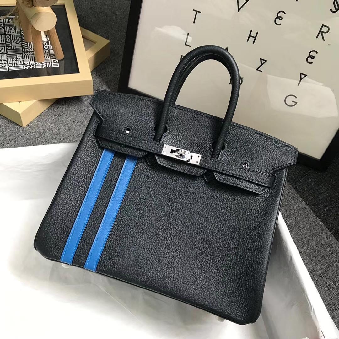 Hermès(爱马仕)松柏绿拼琉璃蓝 原厂御用顶级小牛皮拼Swift  Birkin 25 银扣