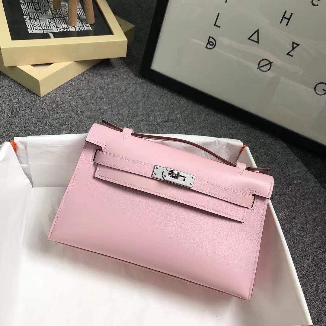 Hermès(爱马仕)3Q新樱花粉 原厂御用顶级Swift 皮 Mini Kelly 金扣 现货