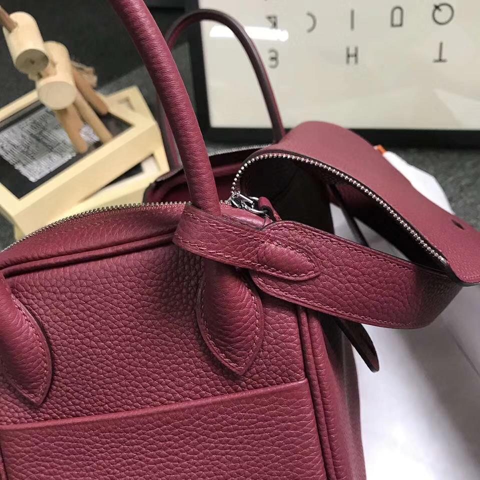 Hermès(爱马仕)K1 石榴红 原厂御用顶级TC 皮 Lindy 26 银扣