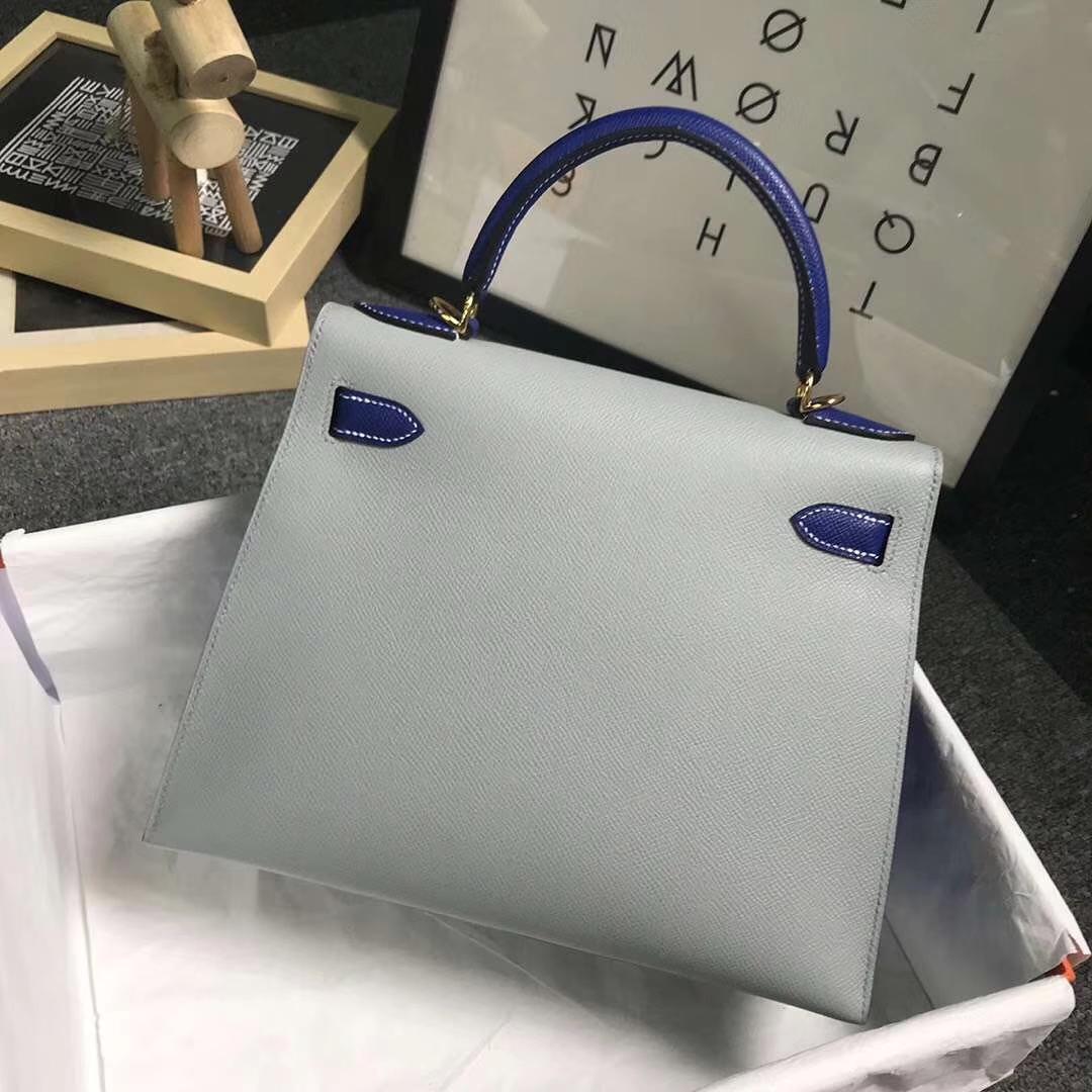 Hermès(爱马仕)4Z海鸥灰拼电光蓝 原厂御用顶级Epsom 皮 Kelly 28 外缝 金扣