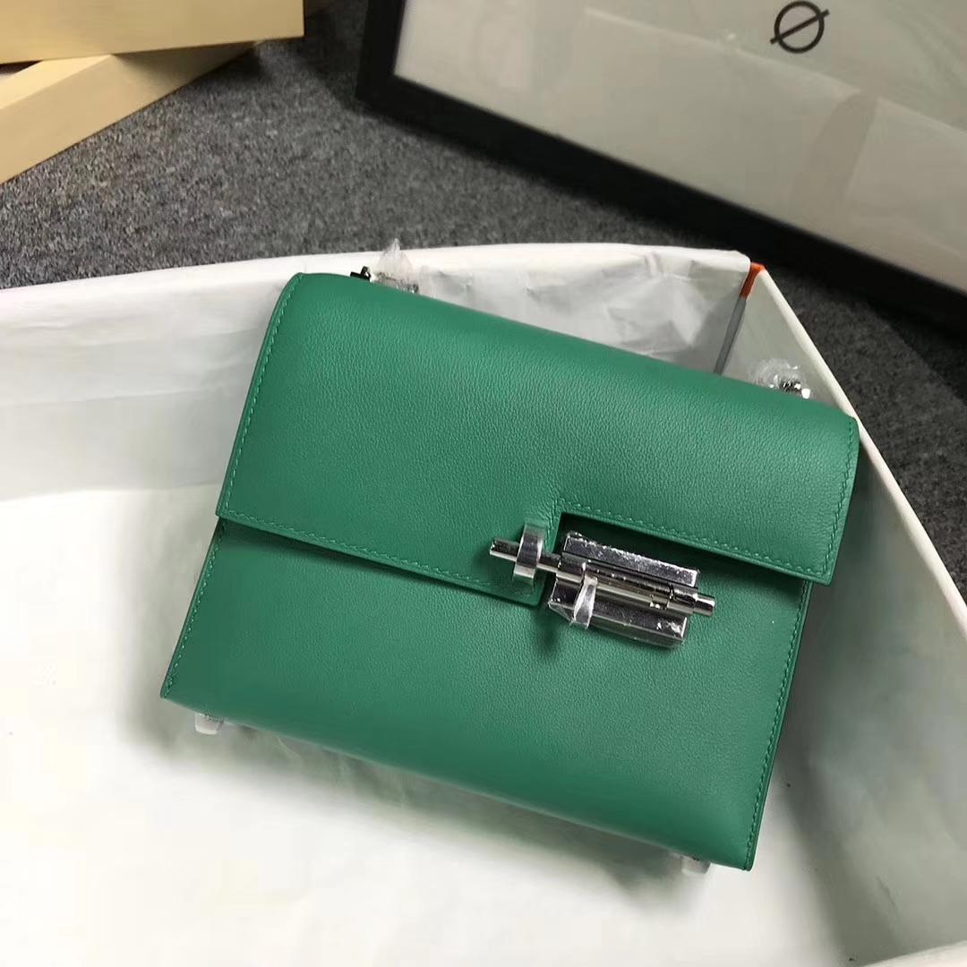 Hermès(爱马仕)U4 丝绒绿 原厂御用顶级Swift 皮  Verrou 插销包