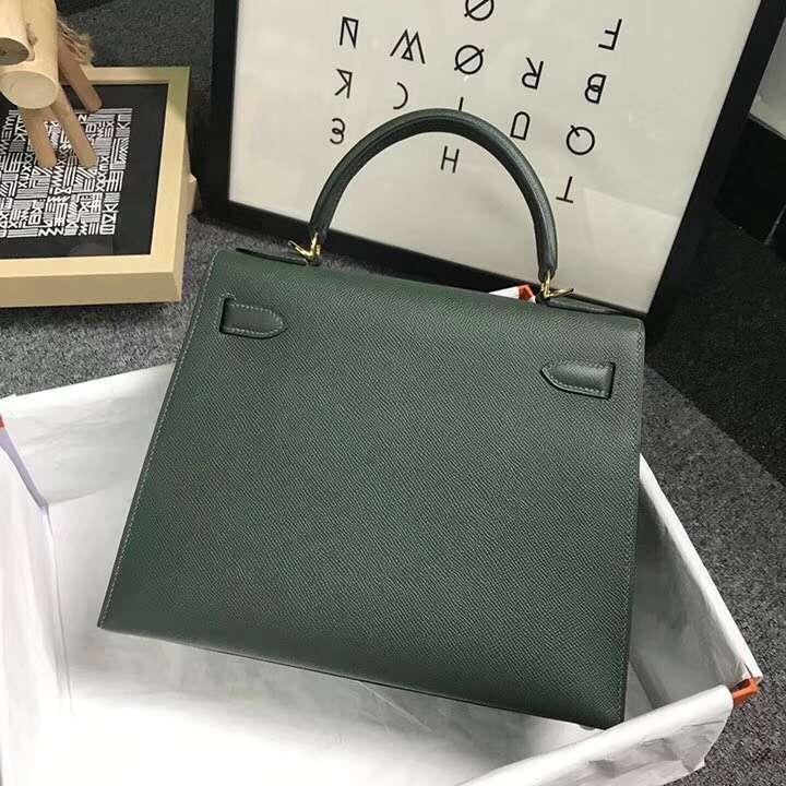 Hermès(爱马仕)2Q英国绿 原厂御用顶级Epsom 皮 Kelly 28 外缝 金扣