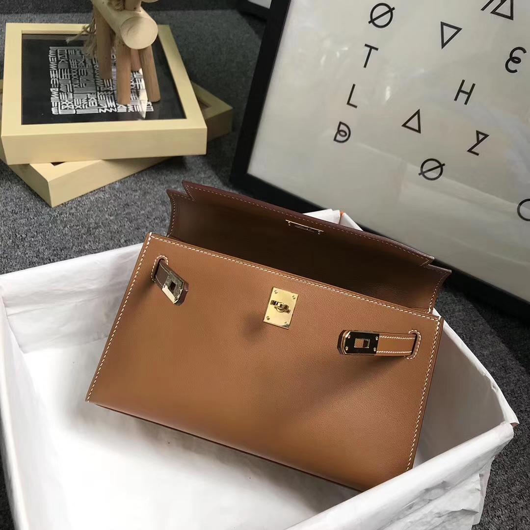Hermès(爱马仕)金棕色 原厂御用顶级Swift 皮 Mini Kelly 金扣 现货