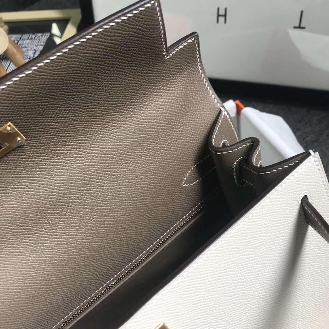 Hermès(爱马仕)奶昔白拼CK18大象灰 原厂御用顶级Epsom 皮 Kelly 28 外缝 金扣 现货
