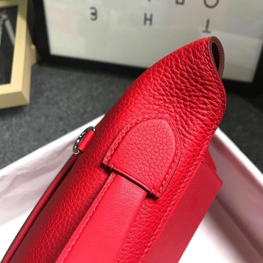 Hermès(爱马仕)Q5 中国红 糖果红 原厂御用顶级小牛皮拼Swift 皮 2424 银扣