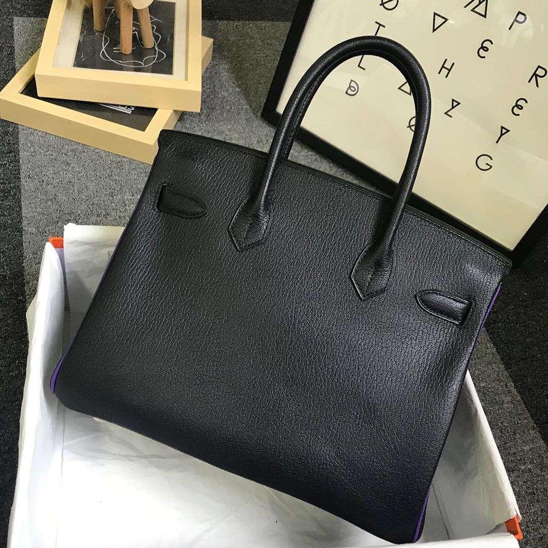 Hermès(爱马仕)CK89黑色拼9W梦幻紫 原厂御用顶级山羊皮 Birkin 30 金扣