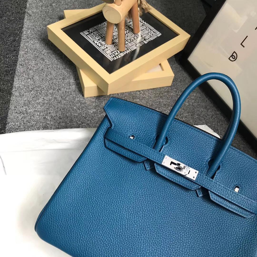 Hermès(爱马仕)7W伊兹密尔蓝 原厂御用顶级小牛皮 Birkin 25 银扣