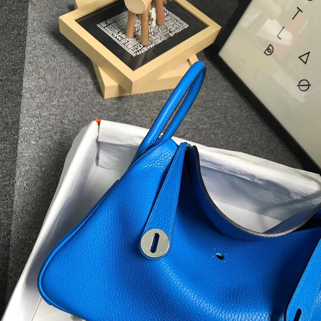 Hermès(爱马仕)水妖蓝 原厂御用顶级TC 皮 Lindy 30 银扣