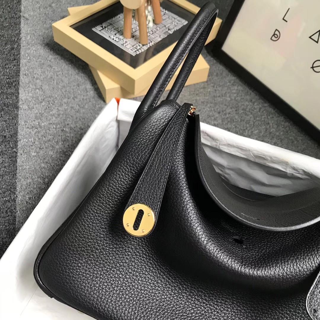 Hermès(爱马仕)黑色 原厂御用顶级小牛皮 Lindy 30 金扣 现货