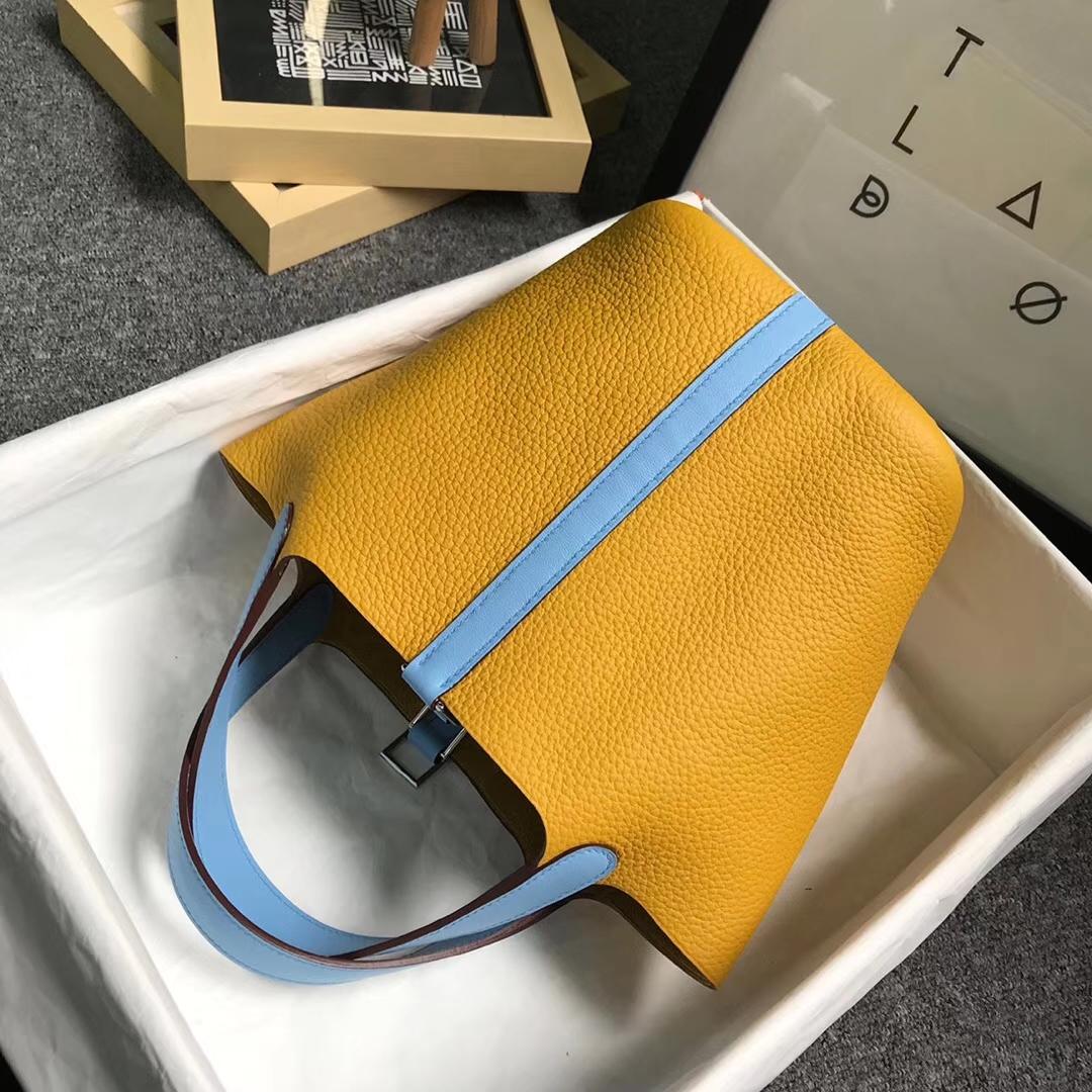 Hermès(爱马仕)9D琥珀黄拼糖果蓝 原厂御用顶级TC皮 Picotin  Lock 18cm 金扣 现货