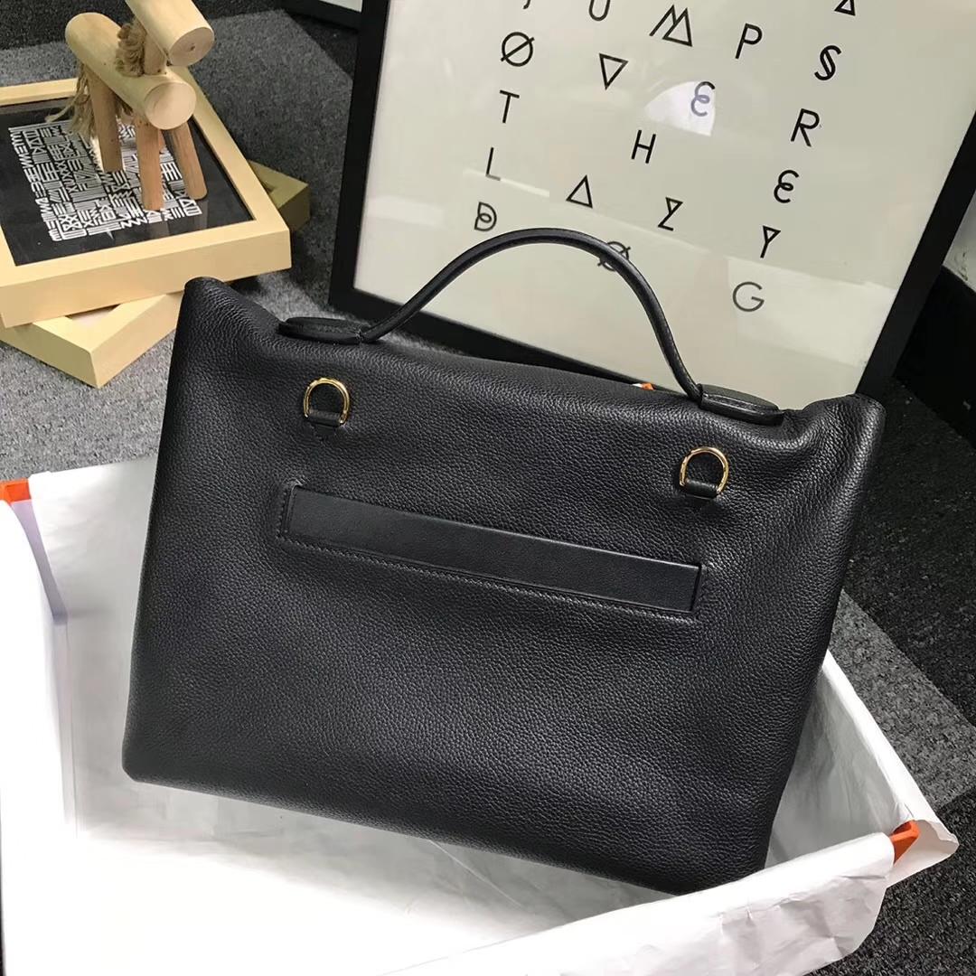 Hermès(爱马仕)CK89 黑色 原厂御用顶级小牛皮拼Swift 皮 24/24 金扣