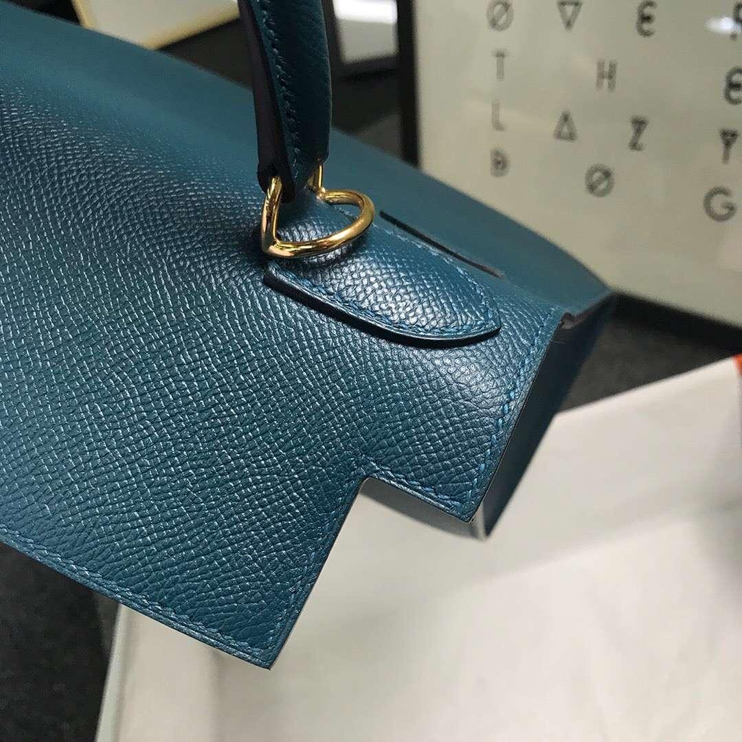 Hermès(爱马仕)1P鸭子蓝 原厂御用顶级Epsom 皮 Kelly 28 外缝 金扣