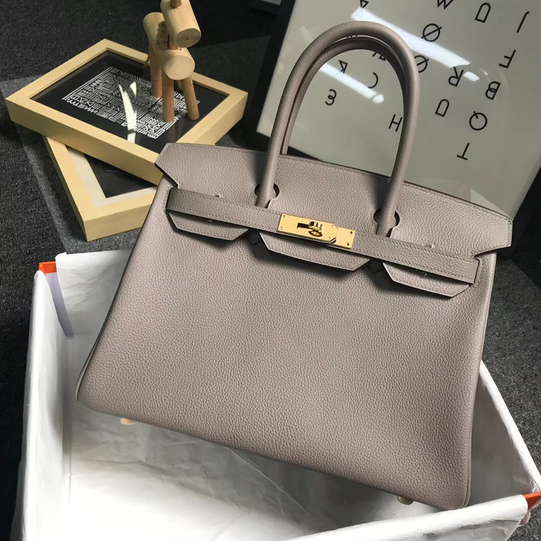 Hermès(爱马仕)M8 沥青灰 原厂御用顶级小牛皮 Birkin 30 金扣 现货