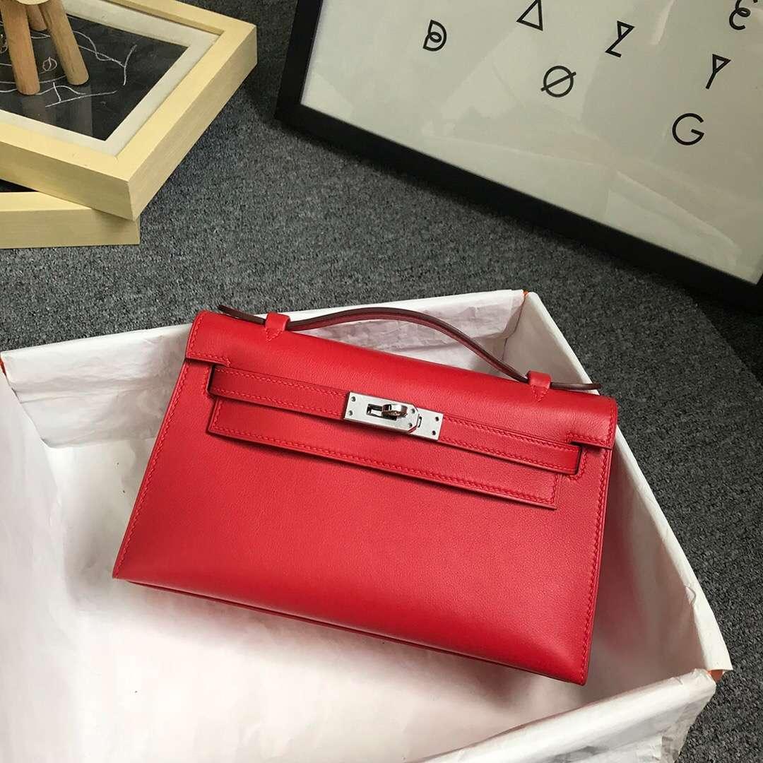 Hermès(爱马仕)S5 番茄红 原厂御用顶级Swift 皮 Mini Kelly 银扣 现货