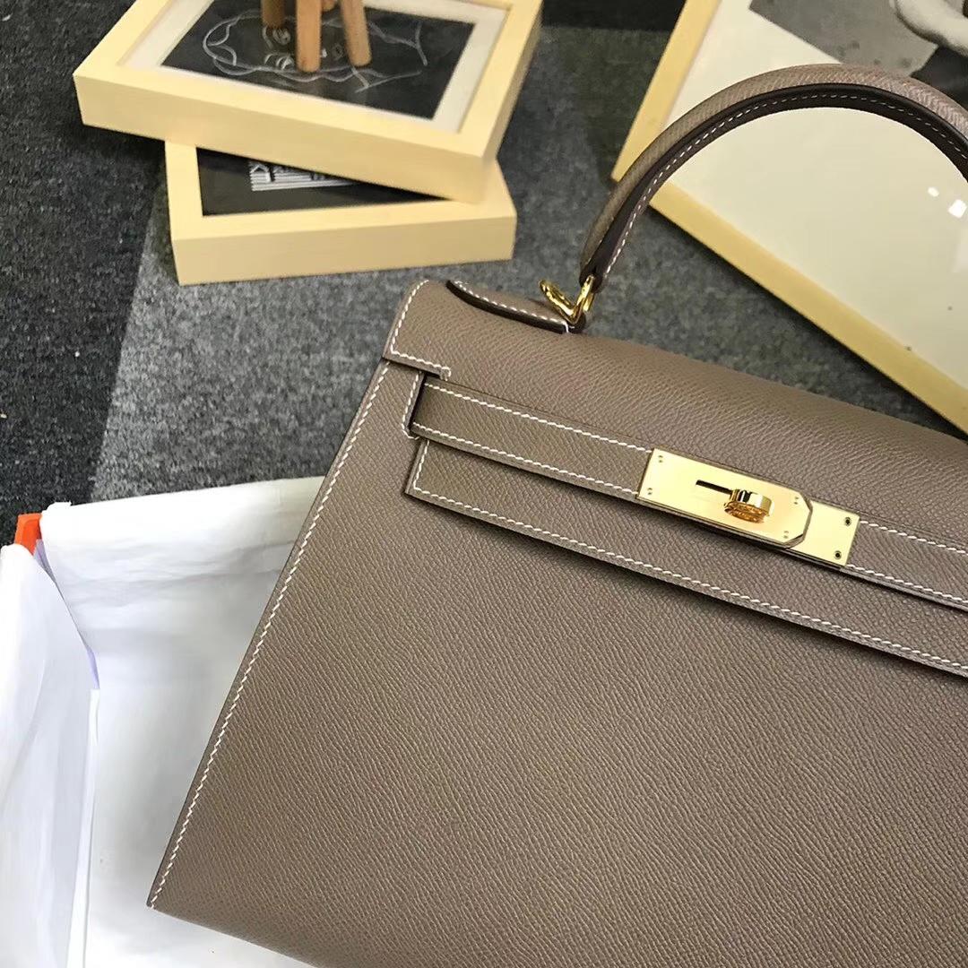 Hermès(爱马仕)大象灰 原厂御用顶级Epsom 皮 Kelly 28 外缝 金扣 现货