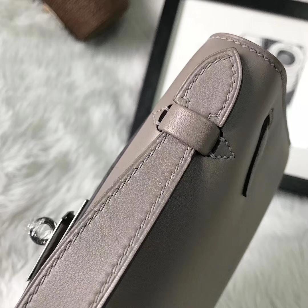 Hermès(爱马仕)M8 沥青灰 原厂御用顶级Swift 皮 Mini Kelly 银扣 现货