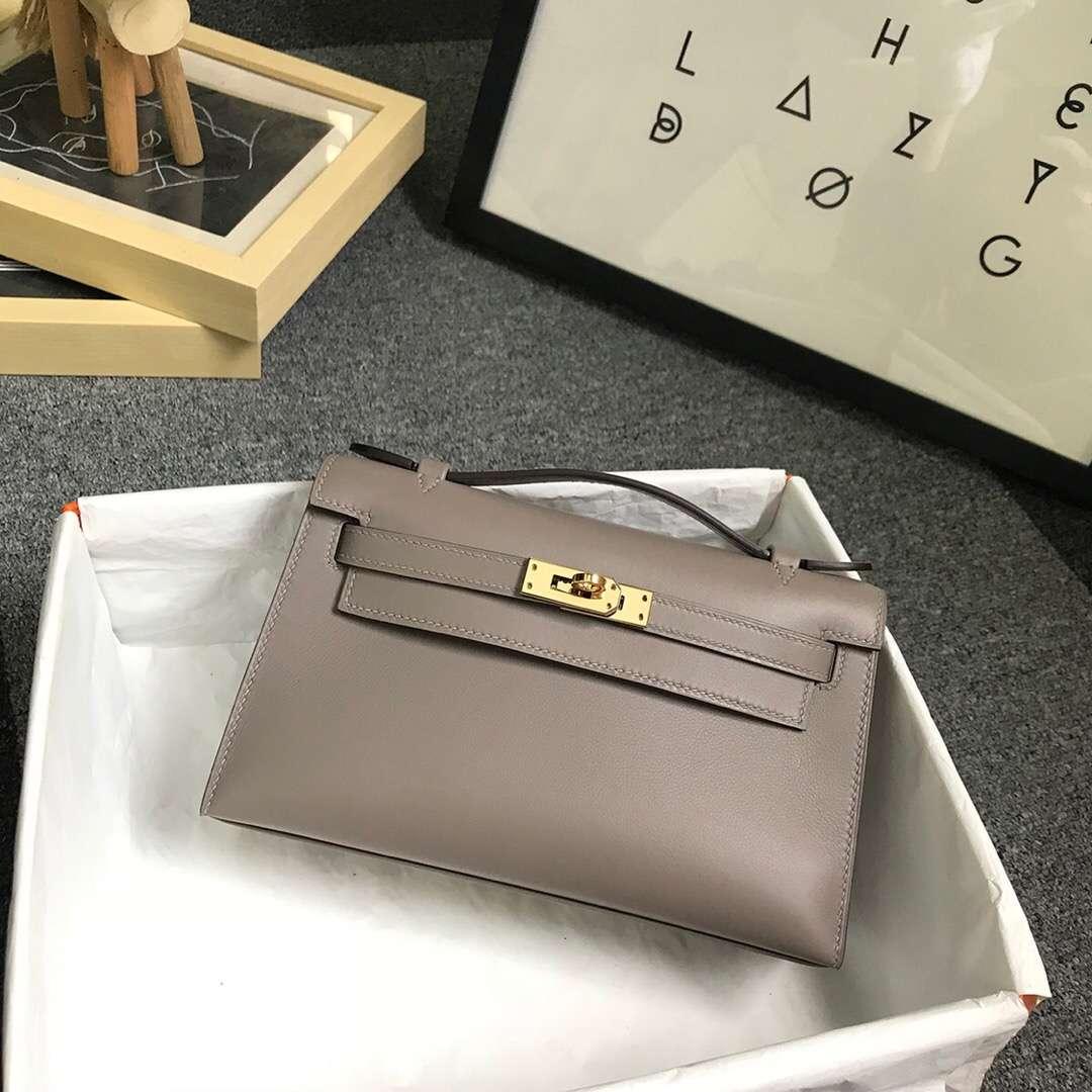 Hermès(爱马仕)M8 沥青灰 原厂御用顶级Swift 皮 Mini Kelly 金扣 现货