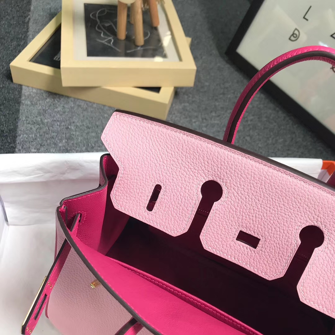 Hermès(爱马仕)3Q新樱花粉拼5R桃红色 原厂御用顶级小牛皮 Birkin 25 金扣