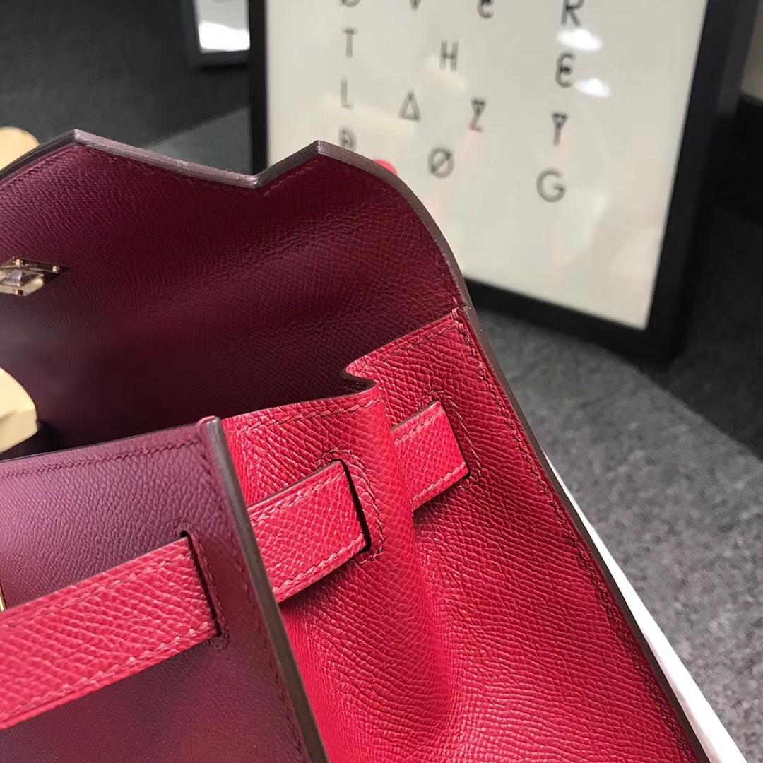 Hermès(爱马仕)K1 石榴红 原厂御用顶级Epsom 皮 Kelly 28 外缝 金扣