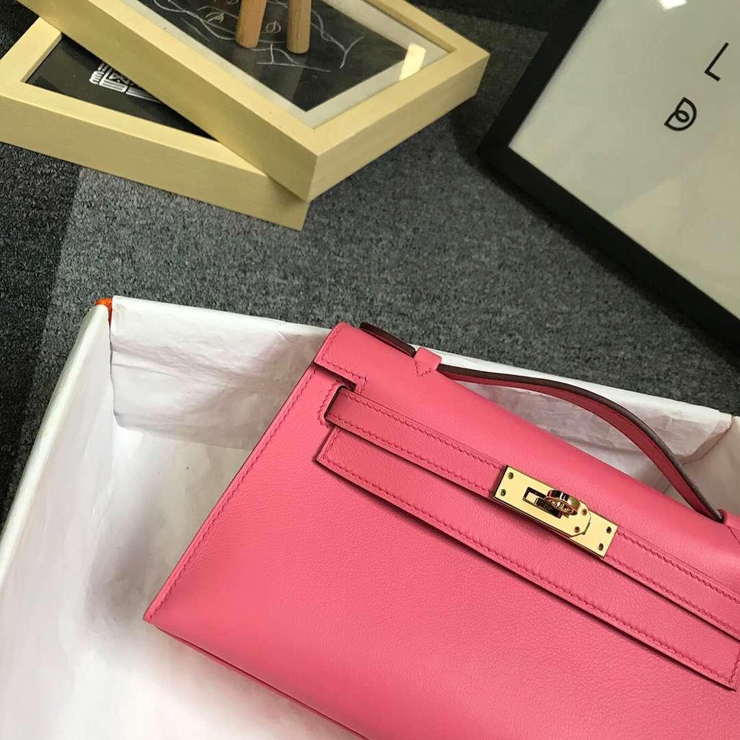 Hermès(爱马仕)8W新唇膏粉 原厂御用顶级Swift 皮 Mini Kelly 金扣 现货