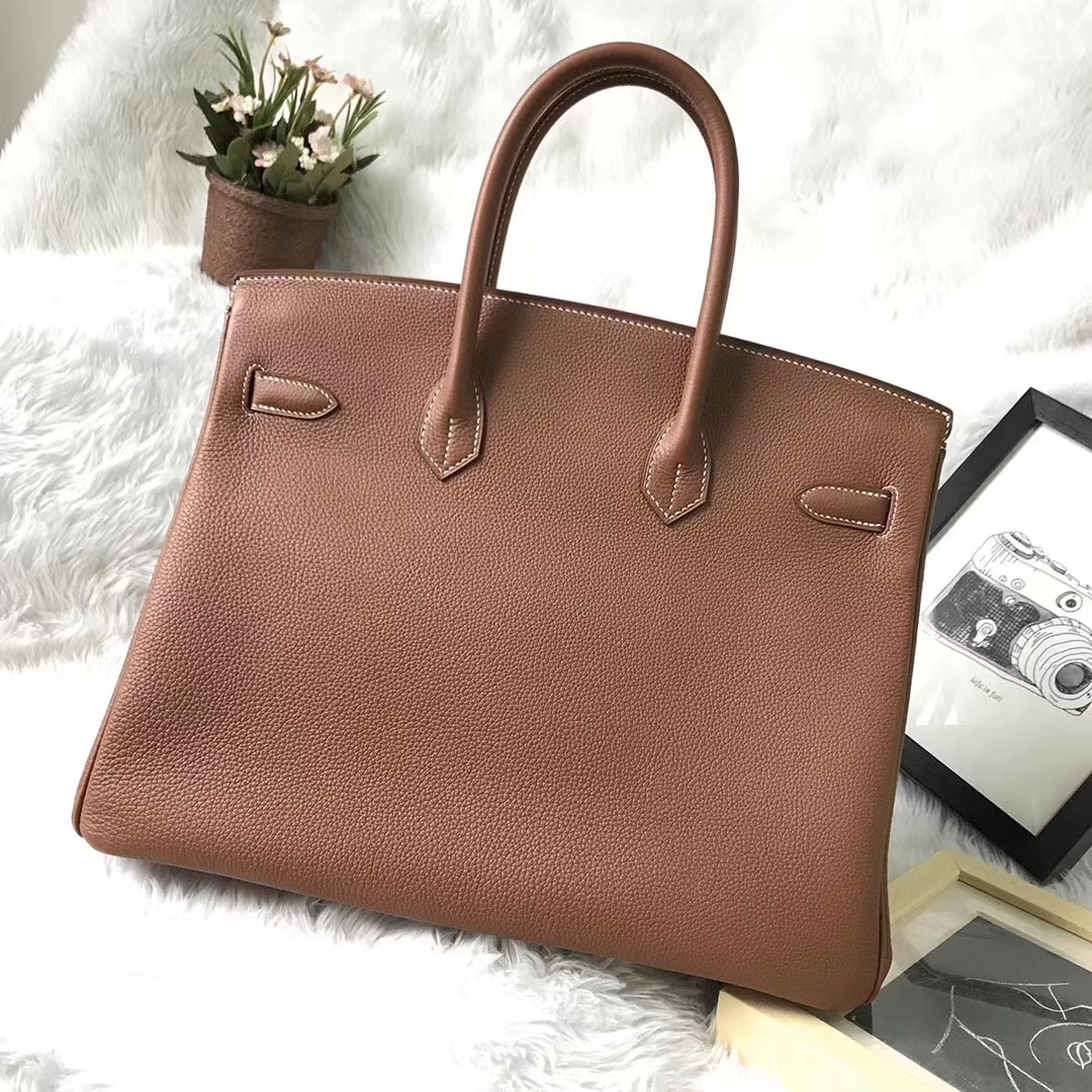 Hermès(爱马仕)金棕色 原厂御用顶级小牛皮 Birkin 35 金扣 现货