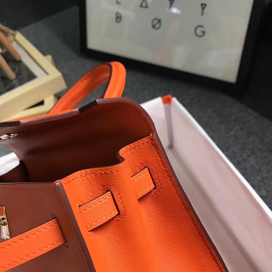 Hermès(爱马仕)经典橙色 原厂御用顶级Swift  皮 Kelly 25 外缝 金扣
