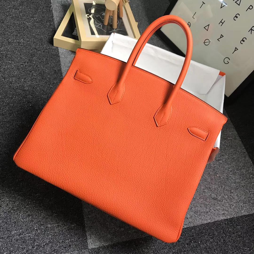 Hermès(爱马仕)橙色 原厂御用顶级小牛皮 Birkin 35 金扣